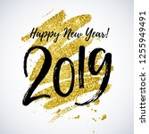 happy new year 2019 hand... | Shutterstock .eps vector #1255949491