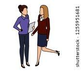 couple businesswomen avatars... | Shutterstock .eps vector #1255951681
