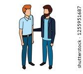 couple of men avatars characters | Shutterstock .eps vector #1255951687