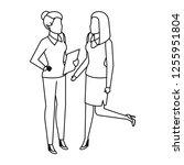 couple businesswomen avatars... | Shutterstock .eps vector #1255951804