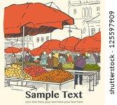 organic vegetables at farmers... | Shutterstock .eps vector #125597909