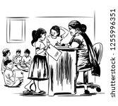 indian village school sketch...   Shutterstock .eps vector #1255996351