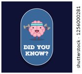 did you know with brain cartoon ... | Shutterstock .eps vector #1256000281