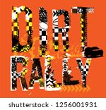off road rally. unique grunge... | Shutterstock .eps vector #1256001931