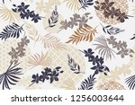 seamless pattern with tropical... | Shutterstock .eps vector #1256003644