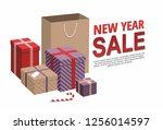 gift boxes and shopping bags ... | Shutterstock .eps vector #1256014597