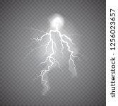 realistic thunderstorm... | Shutterstock . vector #1256023657