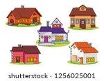 cute cartoon house vector | Shutterstock .eps vector #1256025001