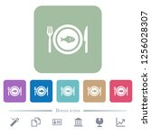 fish for lunch white flat icons ... | Shutterstock .eps vector #1256028307