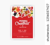 christmas 2019 party poster... | Shutterstock .eps vector #1256037427