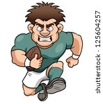 illustration of cartoon rugby... | Shutterstock .eps vector #125604257