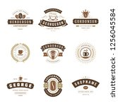 coffee shop logos design... | Shutterstock .eps vector #1256045584