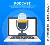 podcast icon  vector symbol in... | Shutterstock .eps vector #1256055274