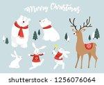 christmas animal set | Shutterstock .eps vector #1256076064