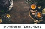 herbal turmeric tea background. ... | Shutterstock . vector #1256078251