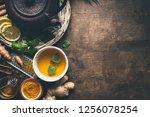 herbal turmeric tea background. ... | Shutterstock . vector #1256078254