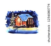 hand drawn watercolor winter... | Shutterstock . vector #1256080774
