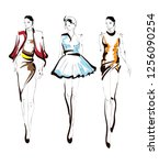 fashion girls sketch. fashion... | Shutterstock .eps vector #1256090254