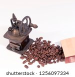 old manual wooden coffee... | Shutterstock . vector #1256097334