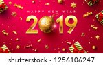 happy new year 2019 poster or... | Shutterstock .eps vector #1256106247