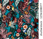 tropical bright floral pattern... | Shutterstock . vector #1256108077