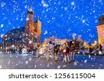 old town of krakow on a cold... | Shutterstock . vector #1256115004