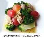 thai side dish on white plate...   Shutterstock . vector #1256125984