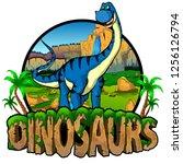 logo  dinosaurs world with... | Shutterstock .eps vector #1256126794