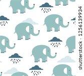 happy elephants  clouds  hand... | Shutterstock .eps vector #1256139934