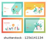 teamwork time management... | Shutterstock .eps vector #1256141134