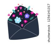 envelope with flowers and... | Shutterstock .eps vector #1256141317