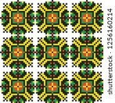 colored embroidery border.... | Shutterstock .eps vector #1256160214