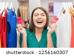 sale  shopping and people... | Shutterstock . vector #1256160307
