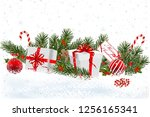 christmas background with fir... | Shutterstock .eps vector #1256165341