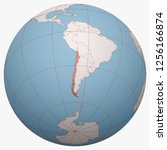 chile on the globe. earth... | Shutterstock .eps vector #1256166874