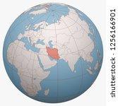 iran on the globe. earth... | Shutterstock .eps vector #1256166901