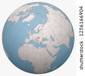 hungary on the globe. earth...   Shutterstock .eps vector #1256166904