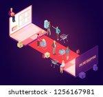 vector isometric composition... | Shutterstock .eps vector #1256167981