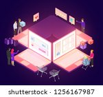 vector isometric composition... | Shutterstock .eps vector #1256167987