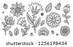 set of vintage line art doodle... | Shutterstock .eps vector #1256198434