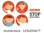 stop bullying circle stickers...   Shutterstock .eps vector #1256204677