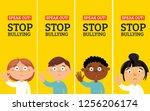 stop bullying stickers.vector...   Shutterstock .eps vector #1256206174
