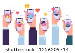 mobile online dating service... | Shutterstock .eps vector #1256209714