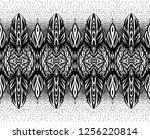 black and white ethnic pattern. ... | Shutterstock .eps vector #1256220814