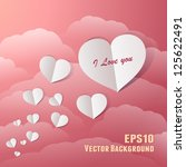 flying paper hearts in a... | Shutterstock .eps vector #125622491