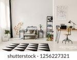 black and white interior design ... | Shutterstock . vector #1256227321