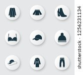 garment icons set with boots ... | Shutterstock .eps vector #1256231134