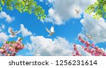 spring branches and doves... | Shutterstock . vector #1256231614