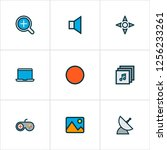 multimedia icons colored line... | Shutterstock .eps vector #1256233261