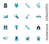 construction icons colored set... | Shutterstock .eps vector #1256233951